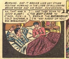 Bild: Läderlappen och Robin vaknar i samma säng.       Bilden är från juni 1954, berätta gärna för mig vem som       tecknat den!