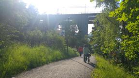 Bild: Katarina på väg ner mot passagen under Årstabron.