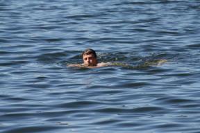 Bild: Roger var den enda som badade