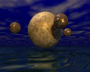 Bild: Några bollar över vatten.